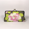 Flower on gray large clutch purse