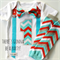 1st Birthday Boy Onesie and Leg Warmers Chevron Red and Aqua Blues Bow Tie