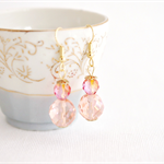 Peach Champagne fire polished beaded earrings