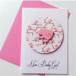 Newborn baby girl congratulations pink chickadee bird cute sweet celebrate card