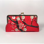 Cherry blossoms in red large clutch purse