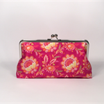 Flower field in fuchsia large clutch purse