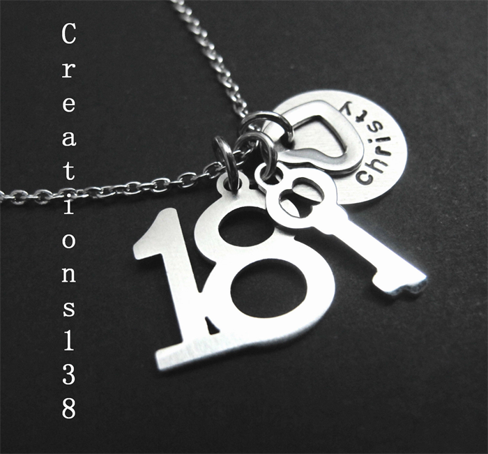 Personalised 18th Birthday Gift Key Necklace Daughter Gifts For Her