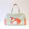 FOX NAPPY bag / sleeping fox on striped mint green background