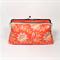 Flower field in orange large clutch purse