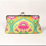Orange lavinia large clutch purse