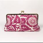 Magenta floral large clutch purse