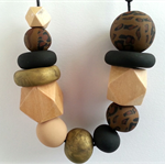 Polymer Clay & Wooden Geometric Necklace