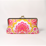 Fuchsia on yellow large clutch purse