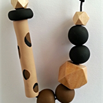 SALE: Polymer Clay & Wooden Geometric Necklace