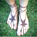 WEED FEET Hand Crochet Barefoot Sandals - Brown HiPPiE feet