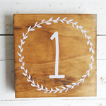 Vintage Timber/ Wooden Wedding 'Laurel' Table Numbers - 5 numbers