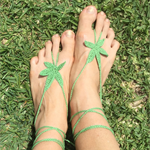 WEED FEET Hand Crochet Barefoot Sandals - Light Green HiPPiE feet