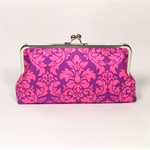 Damask in orchid large clutch purse