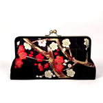 Cherry blossoms in black large clutch purse