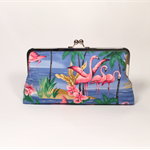 Blue Flamingos large clutch purse