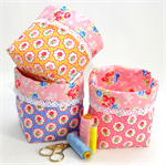 REVERSIBLE FABRIC BASKETS - set of 3