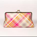 Tangerine tartan large clutch purse