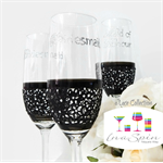 Personalised Champagne Wedding Glasses, Bridal Party Gifts - Lace x 3