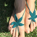 WEED FEET Hand Crochet Barefoot Sandals - Dark Green HiPPiE feet