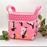 FABRIC STORAGE BASKET - 15cm Koalas/Australia/Pink