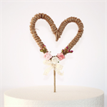 Wedding or Engagement Rustic Heart Cake Topper - Roses