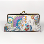 Peacock in lilac large clutch purse