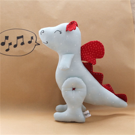 """Dragon soft toy """"Larry"""". Powder Blue and Red"""