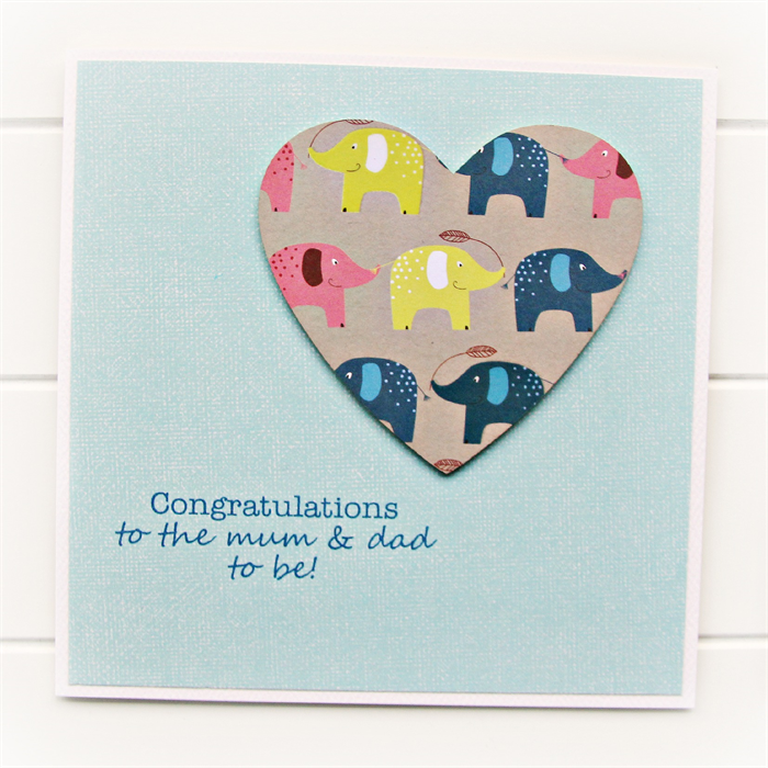 pregnancy congratulations card elephants paper heart new baby mum dad to be - Pregnancy Congratulations Card