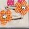 Cute Baby/Infant Orange Gingham Flower Clips
