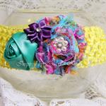 Shabby-Chic Flower Headband in Yellow, Teal & Purple