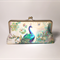 Gold peacocks large clutch purse