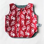Size 1 Reversible Vest - Red Astronauts / Grey Denim