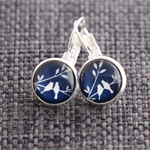 Snow Birds~ Lever Back Earrings