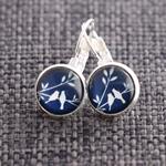 Snow Birds~ Lever Back Earrings
