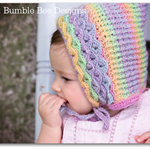 Crochet Crocodile Stitch Pixie Baby Bonnet in Pastel Rainbow shades, 0-6 months