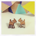 Laser Cut Wooden Deer Earrings
