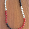 Red, Black & Clear Beaded Resin Necklace