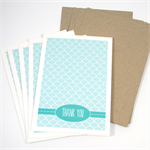 Thank You Card Pack - Blue Fish Scale - Set of 5 Cards - 5PACK_NOT503