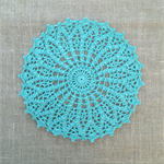 Crochet doily, teal green, seafoam, teacher's gift, table decor