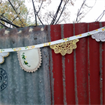 Repurposed Vintage Doily  Garland OOAK Yellows