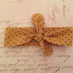 Mustard polka dot knot headband - newborn