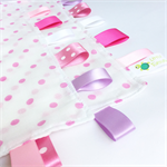 FREE POST ~ PINK POLKADOTS Muslin Baby Security Blankie Taggie Toy