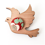 Kimono Dove Brooch - Red and Mint Cherry Blossom