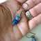Chinois Cobalt blue Asian bead and Glass Earrings Sterling silver hooks