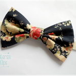 Navy Red Cream floral flowers big bow stretch headband