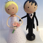 Bride and Groom peg dolls
