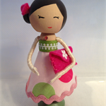 Shopping girl peg doll