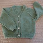 SIZE 3 yrs(+) - cardigan, pastal olive green, acrylic, washable, unsex, warm
