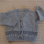SIZE 3 (+) - Hand knitted cardigan, grey & dark blue, acrylic, warm, washable